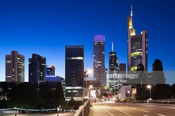 Frankfurt central banking district at dusk
