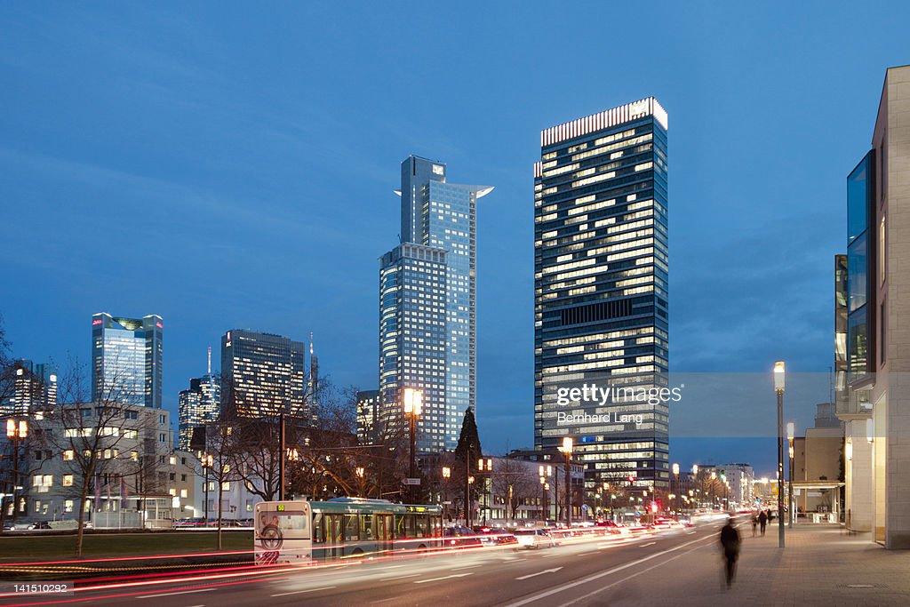 Frankfurt cityscape at night : Stock Photo