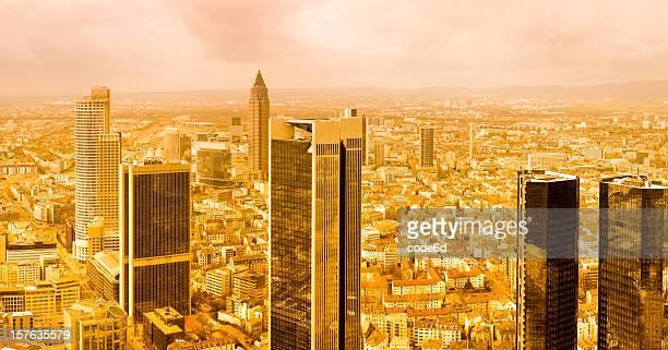 Frankfurt downtown financial center skyline, golden times