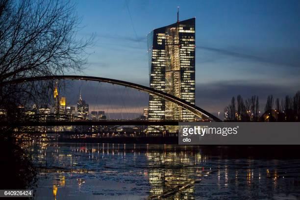 Frankfurt Eastend, River Main and ECB at dusk