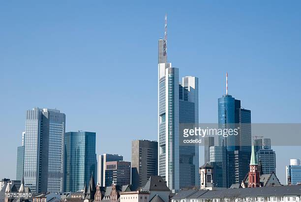 Frankfurt financial district skyline, blue sky, copy space