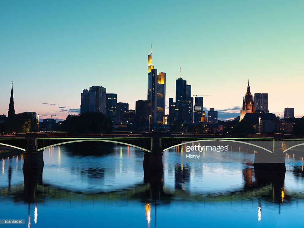 Frankfurt, Germany at Twilight : Stock Photo