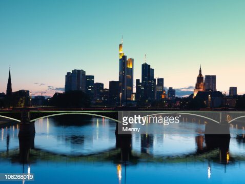 Frankfurt, Germany at Twilight : Stock Photo