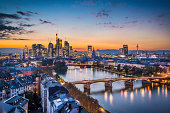 Skyline of Frankfurt, Germany, the financial center of the country.