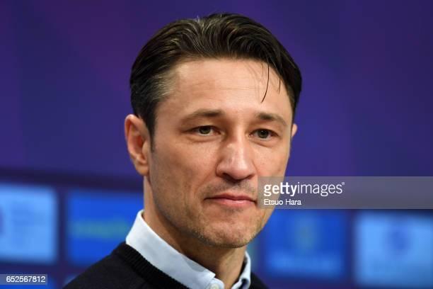 Frankfurt head coach Niko Kovac attend a press conference after the Bundesliga match between Bayern Muenchen and Eintracht Frankfurt at Allianz Arena...