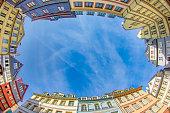 Frankfurt neue Altstadt reconstructed old town under blue sky