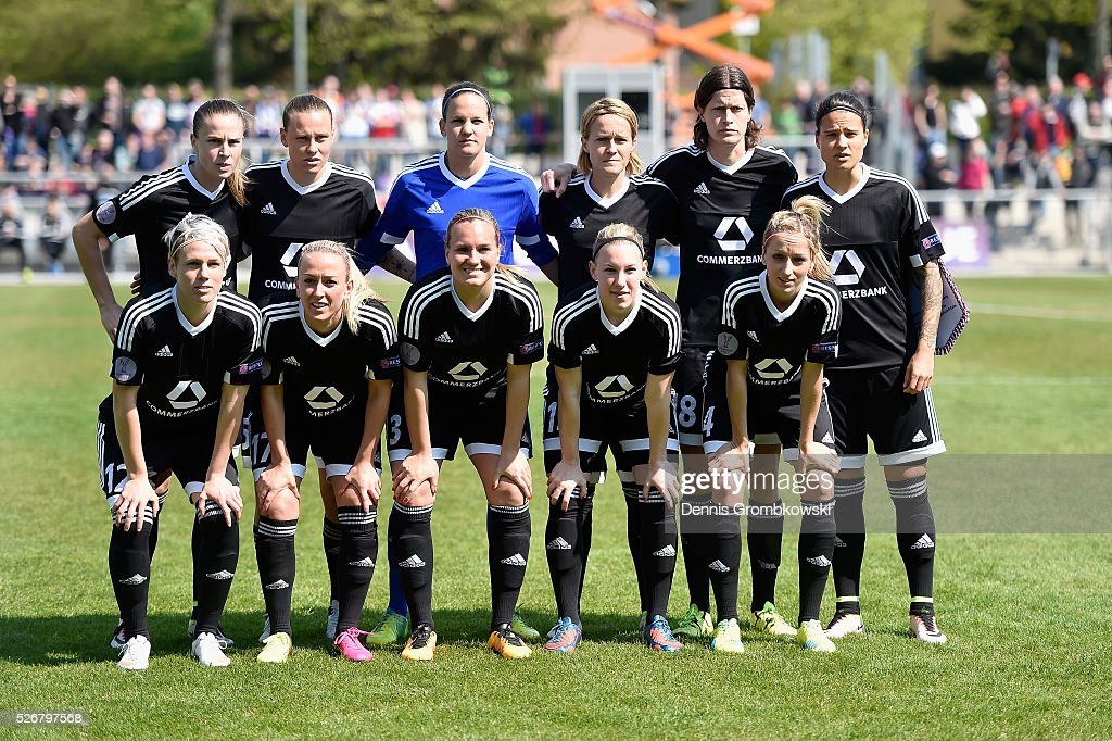 Frankfurt players pose for a team photo prior to kickoff during the UEFA Women's Champions League Semi Final second leg match between 1. FFC Frankfurt and VfL Wolfsburg at Stadion am Brentanobad on May 1, 2016 in Frankfurt am Main, Germany.