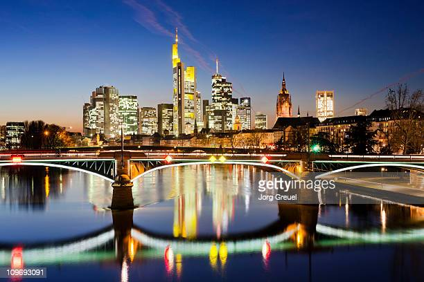 Frankfurt skyline at dusk