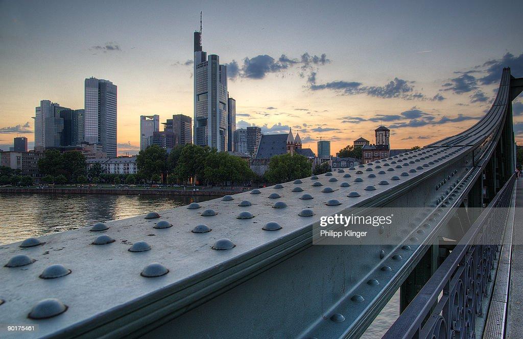 Frankfurt Skyline from Eiserner Steg : Stock Photo