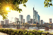 Skyline of Frankfurt am Main with evening sun