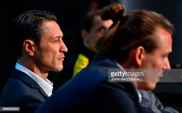 Frankfurt's Croatian headcoach Niko Kovac addresses a press conference on the eve of the German soccer Cup DFB Pokal final match between Eintracht...