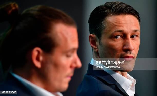 Frankfurt's Croatian headcoach Niko Kovac and Frankfurt's striker Alexander Meier address a press conference on the eve of the German soccer Cup DFB...