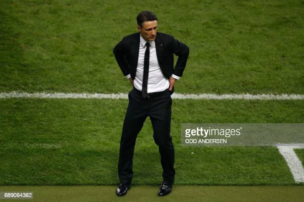 Frankfurt's Croatian headcoach Niko Kovac stands on the sidelines during the German Cup final football match Eintracht Frankfurt v BVB Borussia...
