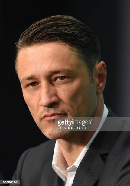 Frankfurt's Croatian Niko Kovac follows the press conference one day eve the German soccer Cup DFB Pokal final match between Eintracht Frankfurt and...