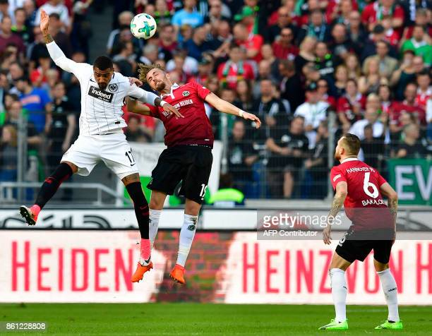 Frankfurt's Ghanaian midfielder KevinPrince Boateng and Hanover's German defender Florian Huebner vie for the ball during the German First division...