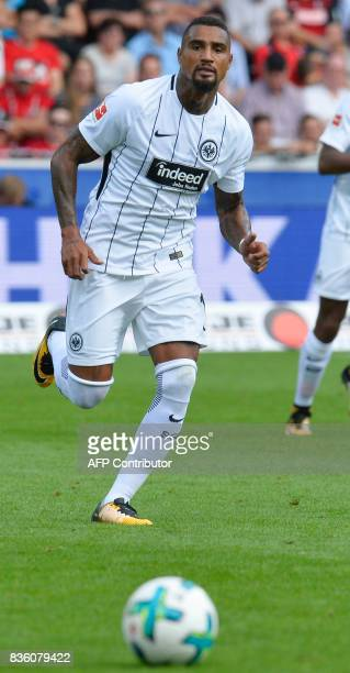 Frankfurt's Ghanaian midfielder KevinPrince Boateng watches the ball during the German First division Bundesliga football match SC Freiburg v...