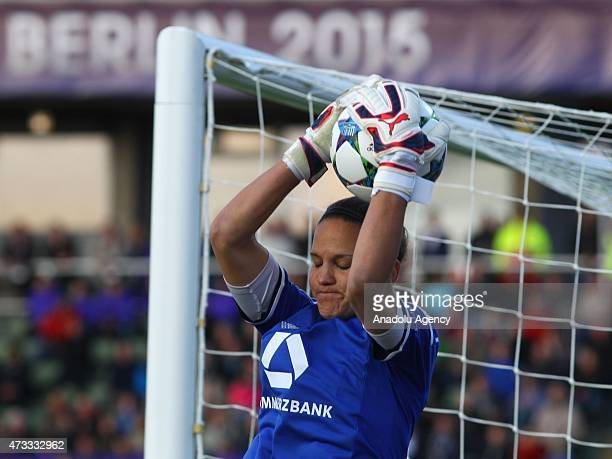 Frankfurt's goal keeper Desiree Schumann in action during the UEFA Champions League women football final match between Paris SaintGermain and FFC...