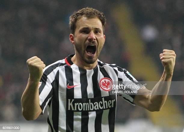 Frankfurt's Hungarian midfielder Szabolcs Huszti celebrates scoring the opening goal during the German first division Bundesliga football match...