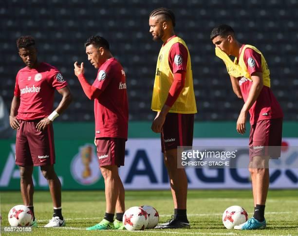 Frankfurt's Israeli defender Taleb Tawatha Frankfurt's Mexican midfielder Marco Fabian Frankfurt's Jamaican defender Michael Hector and Frankfurt's...