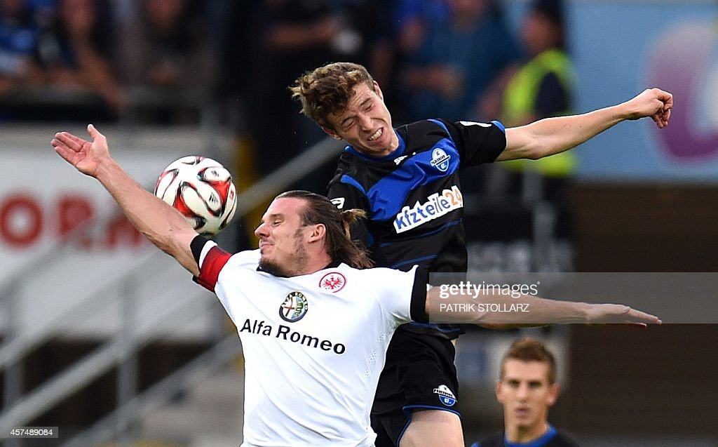 Frankfurt's midfielder Alexander Meier and Paderborn's defender Patrick Ziegler vie for the ball during the German First division Bundesliga football...