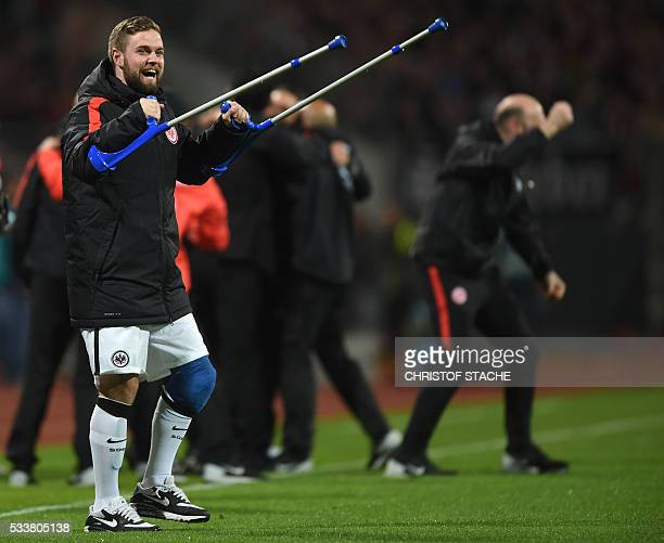 Frankfurt's midfielder Marc Stendera celebrates after the German Bundesliga secondleg relegation football match FC Nuremberg vs Eintracht Frankfurt...