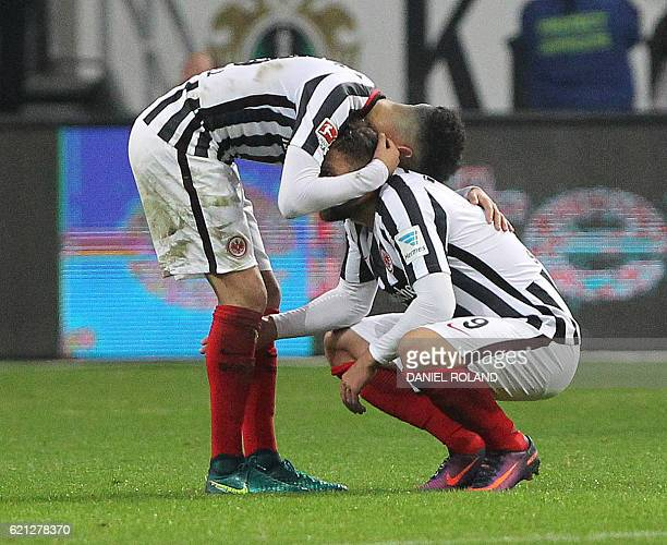 Frankfurt's players celebrate the 10 victory after the German first division Bundesliga football match between Eintracht Frankfurt and FC Cologne in...