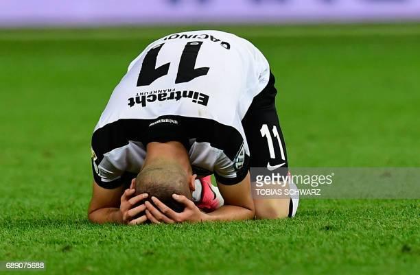 Frankfurt's Serbian midfielder Mijat Gacinovic looks dejected after the German Cup final football match Eintracht Frankfurt v BVB Borussia Dortmund...