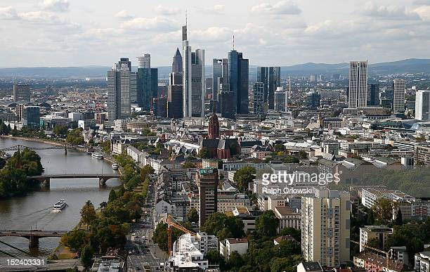 Frankfurt's skyline as viewed from the top floor of the new European Central Bank headquarters during a media tour on September 20 2012 in Frankfurt...