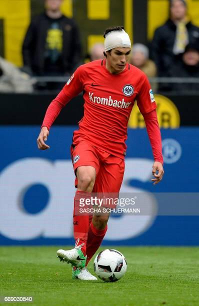 Frankfurt's Spanish defender Jesus Vallejo kicks the ball during the German First division Bundesliga football match between Borussia Dortmund and...