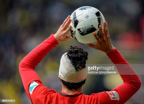 Frankfurt's Spanish defender Jesus Vallejo reacts throws the ball during the German First division Bundesliga football match between Borussia...