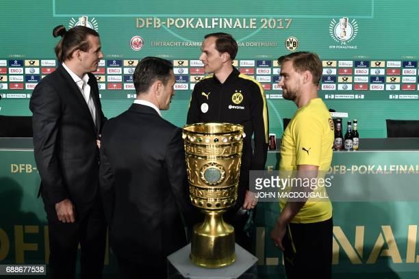 Frankfurt's striker Alexander Meier Frankfurt's Croatian headcoach Niko Kovac Dortmund's headcoach Thomas Tuchel and Dortmund's defender Marcel...