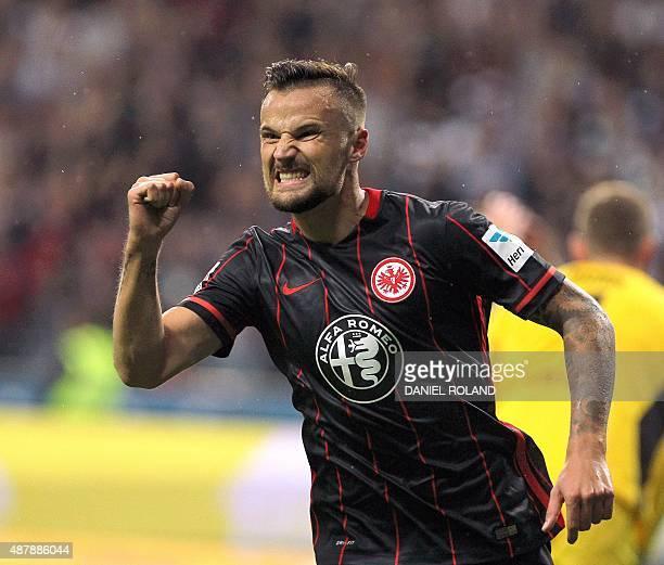 Frankfurt's Swiss forward Haris Seferovic celebrates after scoring 51 during the German first division Bundesliga football match Eintracht Frankfurt...