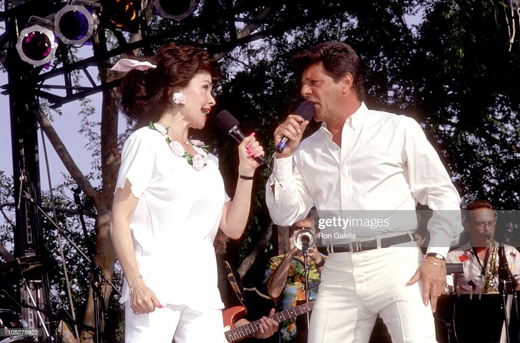 Frankie Avalon & Annette Funicello during Frankie Avalon & Annette Funicello Concert Tour at Calico Square, Knott's Berry Farm in Buena Park, California, United States.
