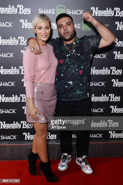 Frankie Bridge and Naughty Boy during the launch of 'Shack Sounds' at Shake Shack Leicester Square on October 22 2017 in London England