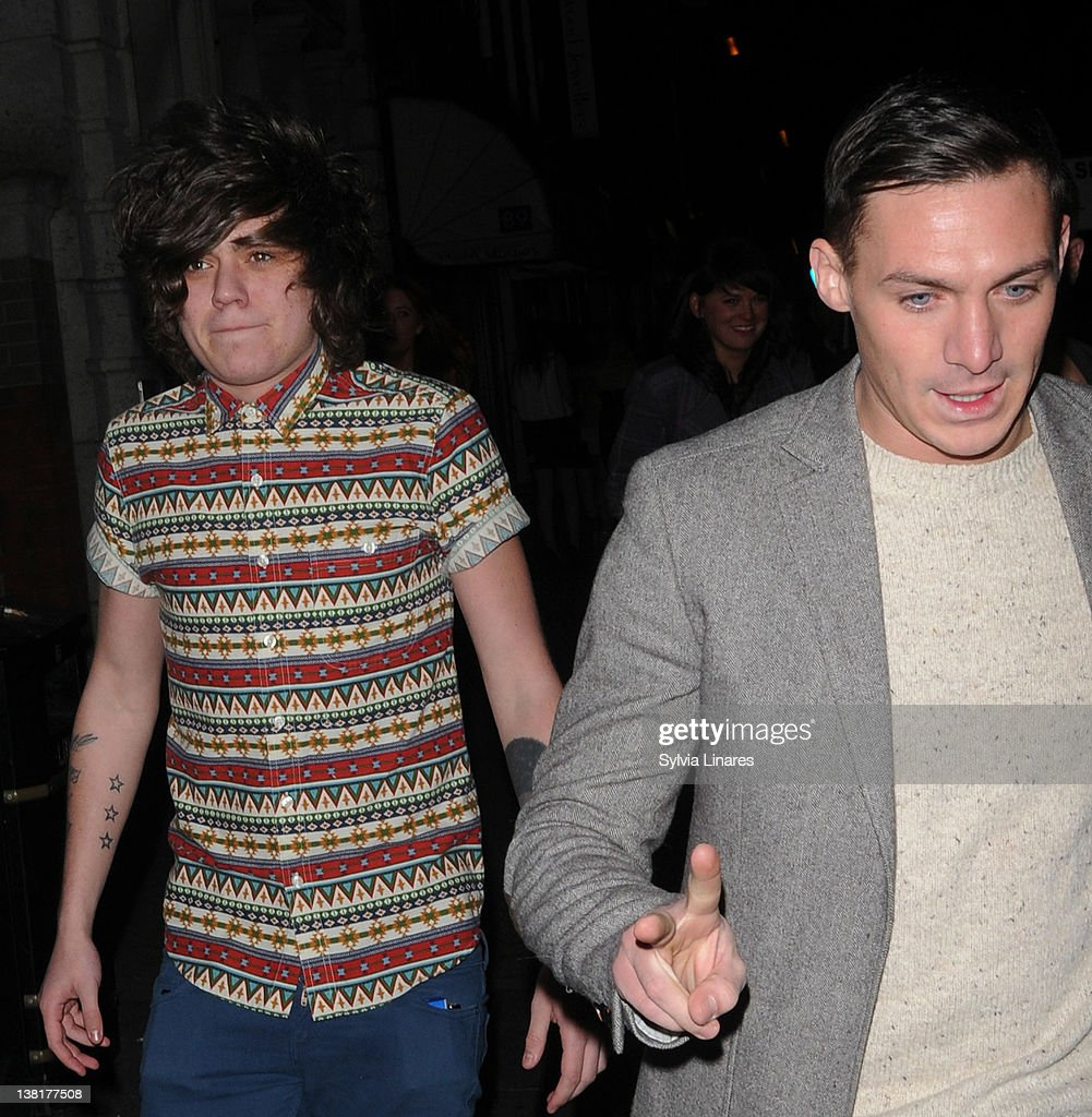 Frankie Cocozza (L) and Kirk Norcross attend the Celebrity Big Brother 2012 reunion party at Sugar Hut on February 3, 2012 in London, England.