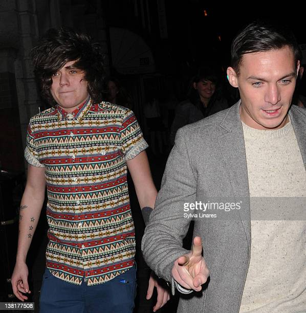 Frankie Cocozza and Kirk Norcross attend the Celebrity Big Brother 2012 reunion party at Sugar Hut on February 3 2012 in London England