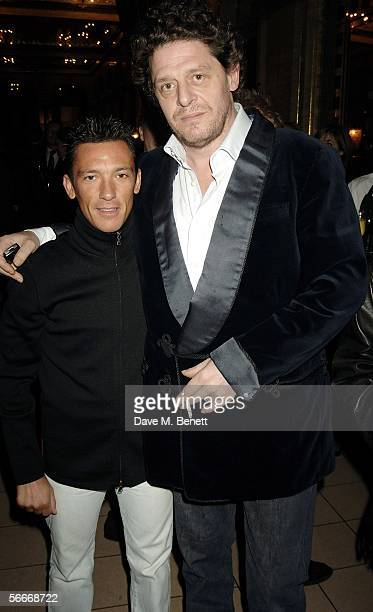Frankie Dettori and Marco Pierre White attend the relaunch party celebrating the opening of the latest branch of Marco PierreWhite and Frankie...