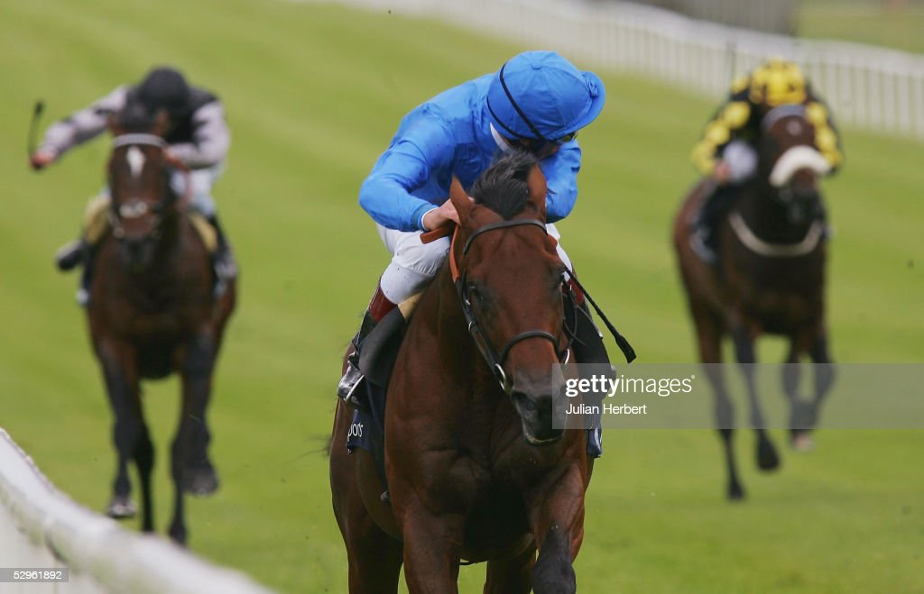 Frankie Dettori and the Godolphin trained Dubawi land The Boylesports Irish 2000 Guineas Race run at The Curragh Racecourse on May 21 2005 at The...