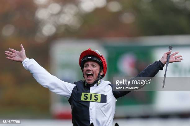 Frankie Dettori celebrates after riding Cracksman to win The QIPCO Champion Stakes at Ascot racecourse on QIPCO British Champions Day on October 21...