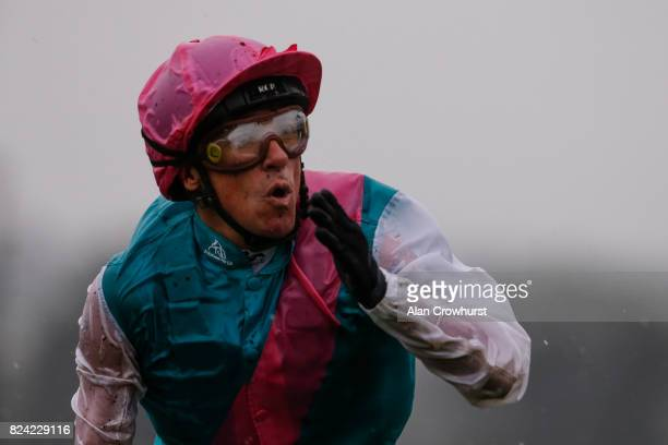 Frankie Dettori celebrates after riding Enable to win The King George VI And Queen Elizabeth Stakes at Ascot racecourse on July 29 2017 in Ascot...