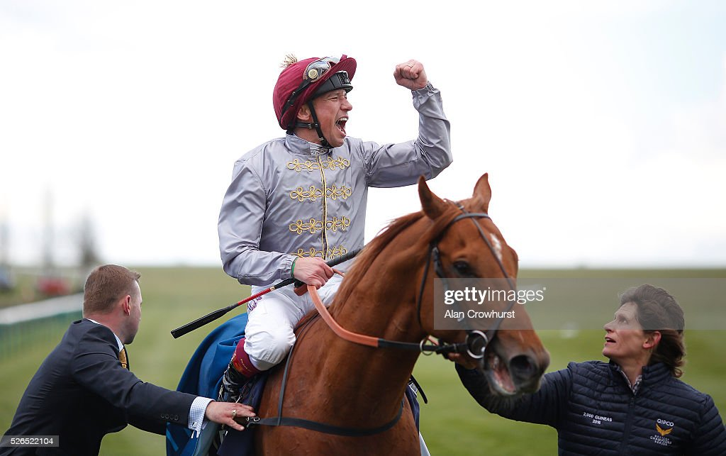 Frankie Dettori celebrates after riding Galileo Gold to win The Qipco 2000 Guineas Stakes at Newmarket racecourse on April 30, 2016 in Newmarket, England.
