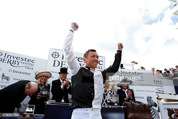 Frankie Dettori celebrates after riding Golden Horn to win The Investec Derby at Epsom racecourse on June 06 2015 in Epsom England
