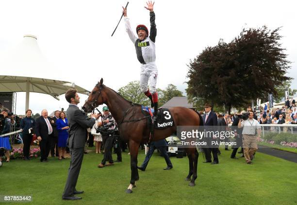 Frankie Dettori celebrates after winning the Betway Great Voltigeur Stakes on Cracksman during Juddmonte International Day of the Yorkshire Ebor...