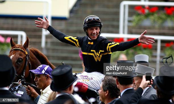 Frankie Dettori celebrates after winning the Diamond Jubilee Stakes riding Undrafted during day 5 of Royal Ascot 2015 at Ascot racecourse on June 20...
