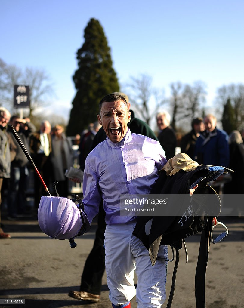 Frankie Dettori celebrates winning The 32Red.com Maiden Stakes at Lingfield racecourse on January 22, 2014 in Lingfield, England.