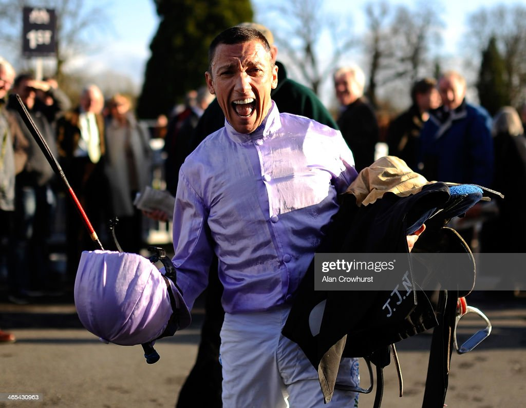<a gi-track='captionPersonalityLinkClicked' href=/galleries/search?phrase=Frankie+Dettori&family=editorial&specificpeople=167142 ng-click='$event.stopPropagation()'>Frankie Dettori</a> celebrates winning The 32Red.com Maiden Stakes at Lingfield racecourse on January 22, 2014 in Lingfield, England.
