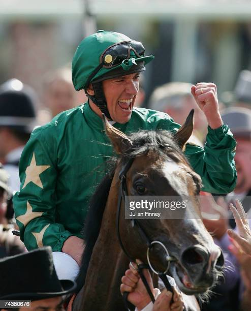 Frankie Dettori celebrates winning the Derby during The Vodafone Derby Race run at Epsom Racecourse on June 2 2007 in Epsom England