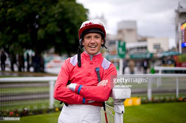 Frankie Dettori flat racing jockey poses for a portrait at Sandown Park racecourse on May 26 2011 in Esher Surrey