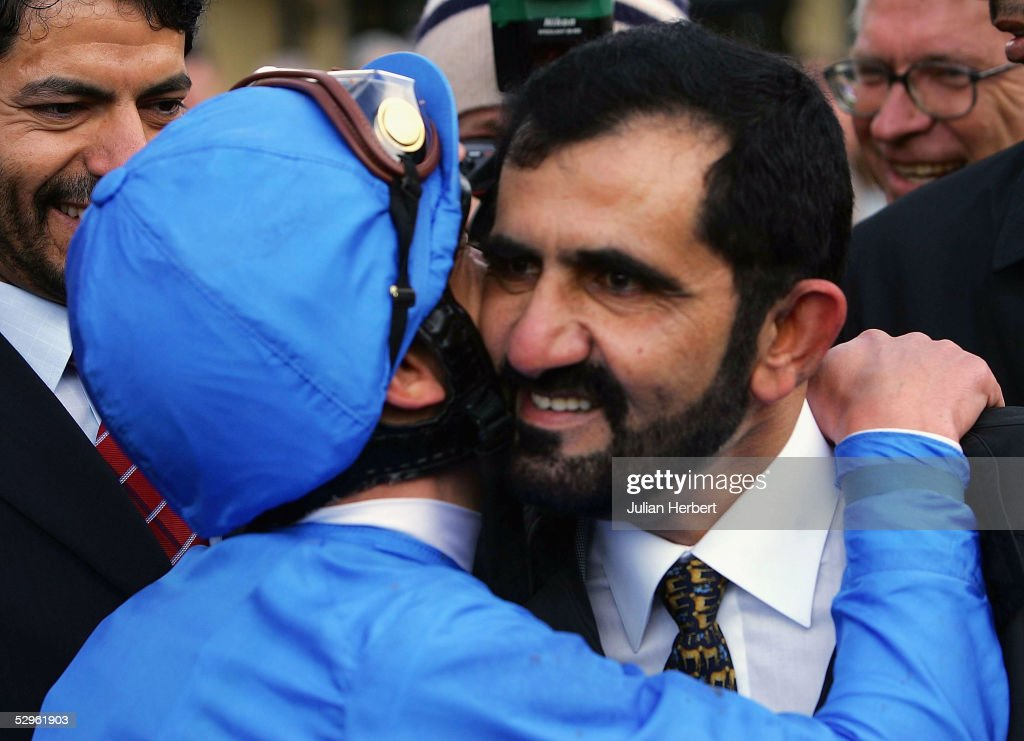 Frankie Dettori greets owner Shiekh Mohammed after the Godolphin trained Dubawi landed The Boylesports Irish 2000 Guineas Race run at The Curragh...