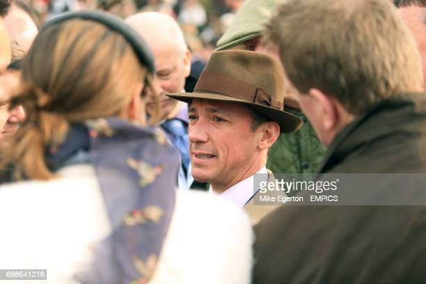 Frankie Dettori is interviewed after Dodging Bullets wins the Betway Queen Mother Champion Chase